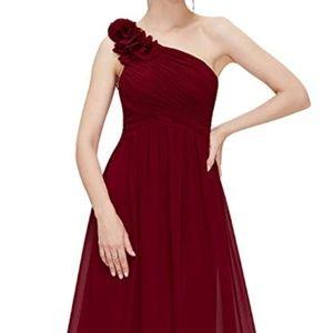 Long One Shoulder, Burgundy Dress